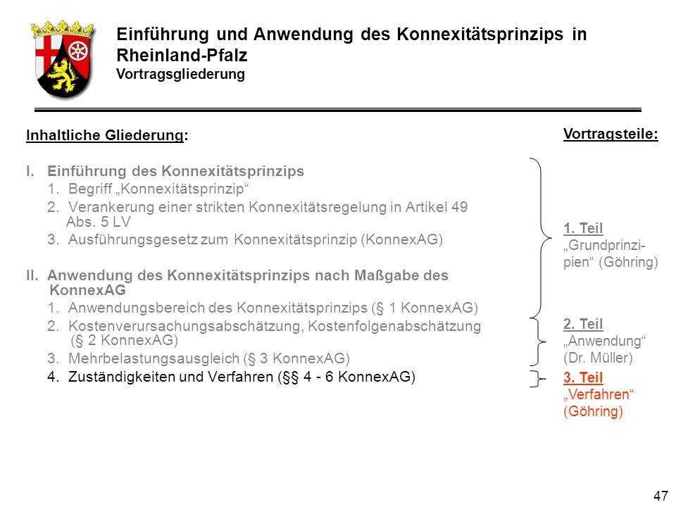 47 Inhaltliche Gliederung: I.Einführung des Konnexitätsprinzips 1.