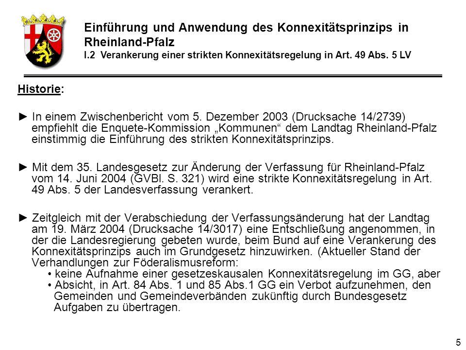 46 Einführung und Anwendung des Konnexitätsprinzips in Rheinland-Pfalz Teil III