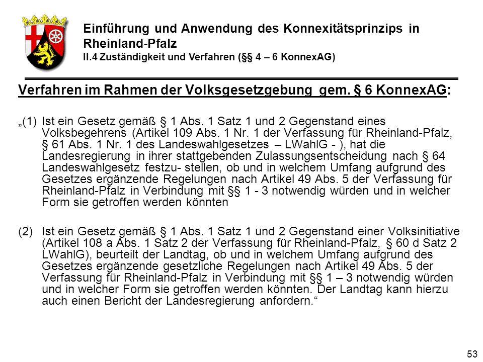 53 Verfahren im Rahmen der Volksgesetzgebung gem.§ 6 KonnexAG: (1)Ist ein Gesetz gemäß § 1 Abs.