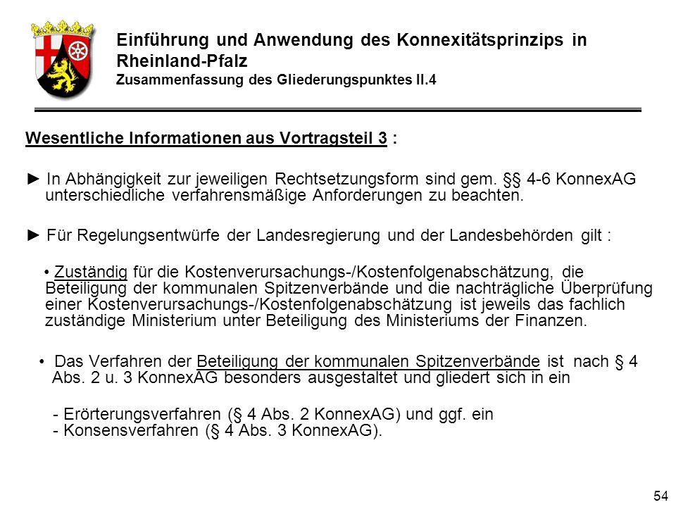 54 Wesentliche Informationen aus Vortragsteil 3 : In Abhängigkeit zur jeweiligen Rechtsetzungsform sind gem.