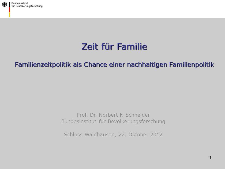 1 Zeit für Familie Familienzeitpolitik als Chance einer nachhaltigen Familienpolitik Prof.