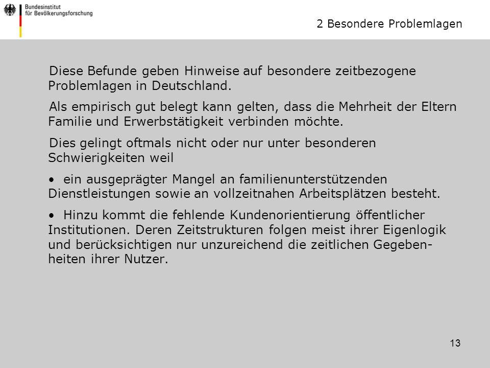 13 Diese Befunde geben Hinweise auf besondere zeitbezogene Problemlagen in Deutschland.