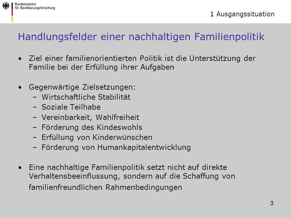 4 Handlungsfelder einer nachhaltigen Familienpolitik Familienpolitik wird aktuell betrieben als Mix aus Geldpolitik und Infrastrukturpolitik Sie ist zu ergänzen um Zeitpolitik Imagepolitik Gleichstellungspolitik 1 Ausgangssituation
