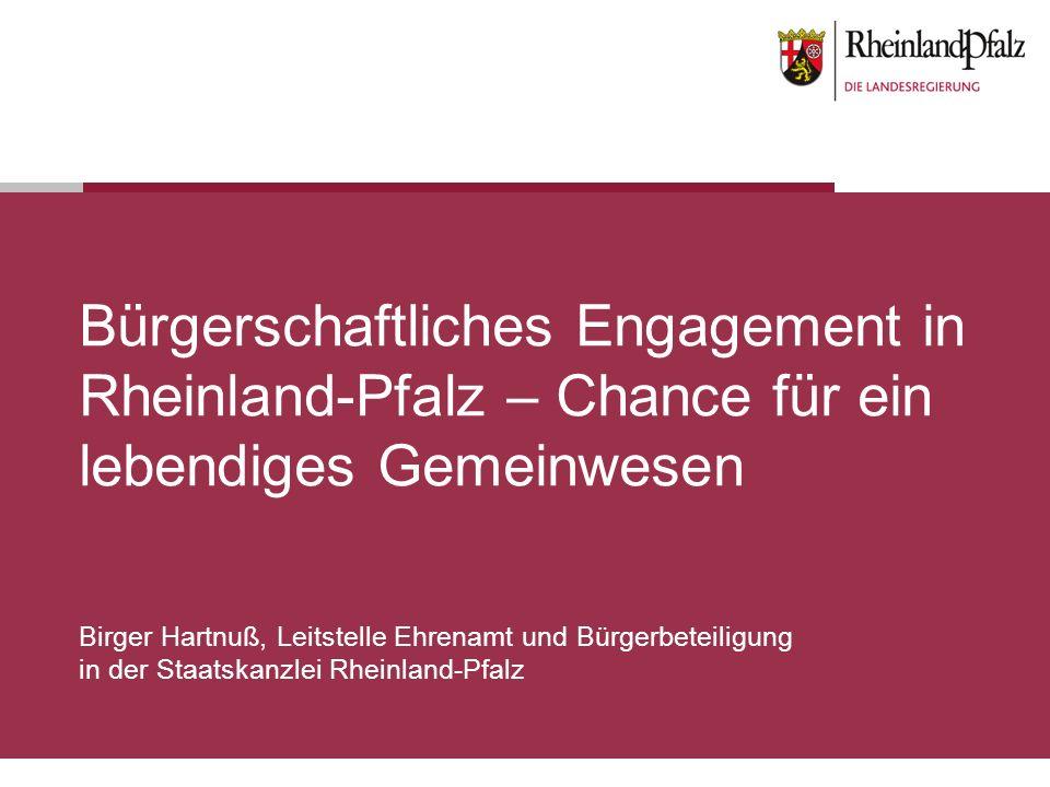 Bürgerschaftliches Engagement in Rheinland-Pfalz – Chance für ein lebendiges Gemeinwesen Birger Hartnuß, Leitstelle Ehrenamt und Bürgerbeteiligung in