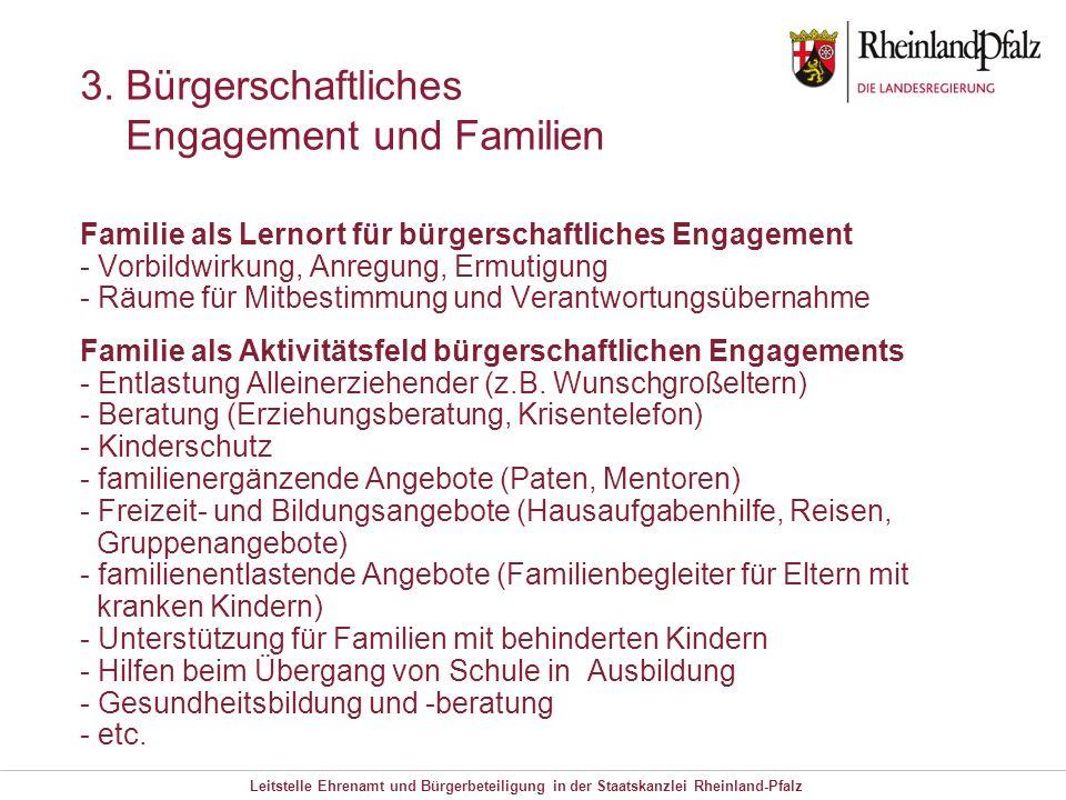 Leitstelle Ehrenamt und Bürgerbeteiligung in der Staatskanzlei Rheinland-Pfalz 3. Bürgerschaftliches Engagement und Familien Familie als Lernort für b