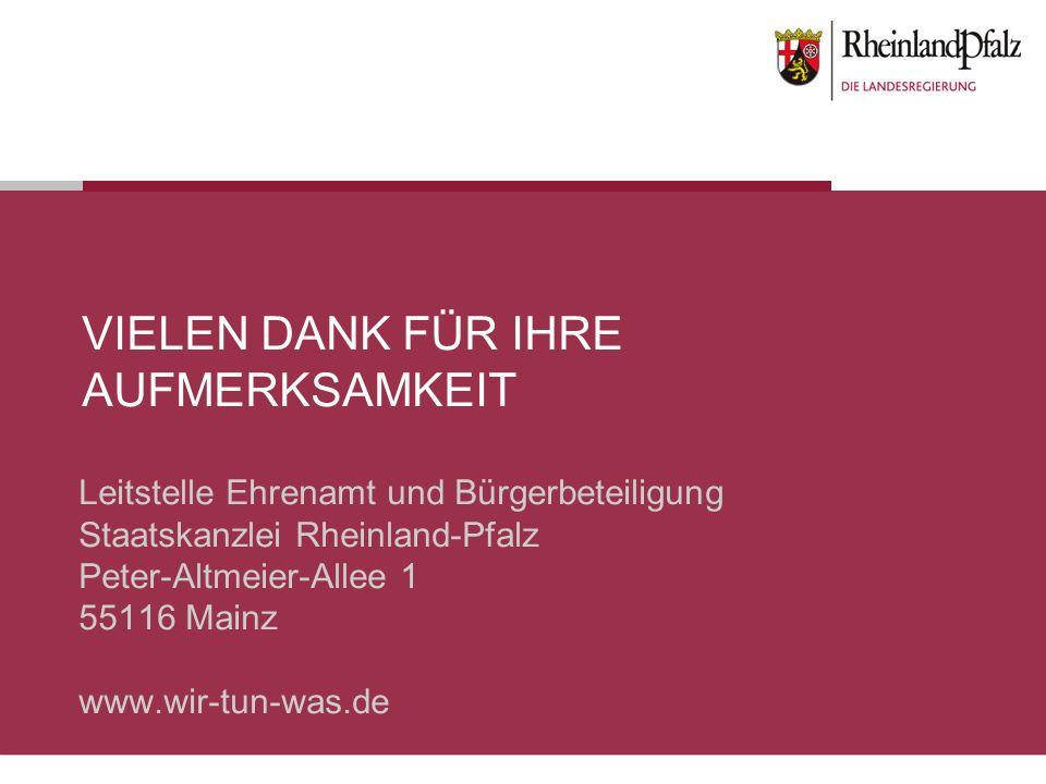 VIELEN DANK FÜR IHRE AUFMERKSAMKEIT Leitstelle Ehrenamt und Bürgerbeteiligung Staatskanzlei Rheinland-Pfalz Peter-Altmeier-Allee 1 55116 Mainz www.wir