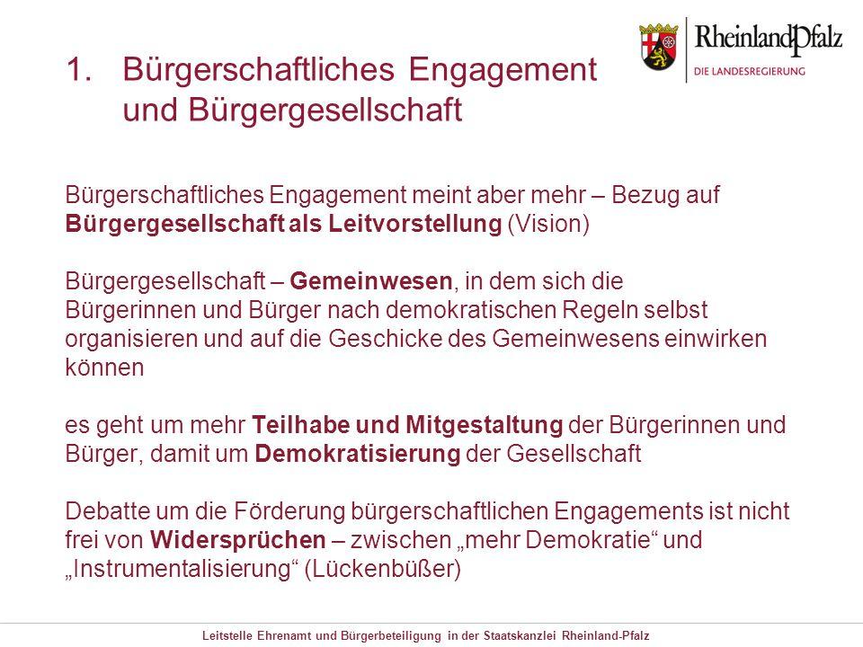 Leitstelle Ehrenamt und Bürgerbeteiligung in der Staatskanzlei Rheinland-Pfalz 1.Bürgerschaftliches Engagement und Bürgergesellschaft Bürgerschaftlich