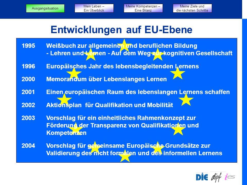 Entwicklungen auf EU-Ebene 1995Weißbuch zur allgemeinen und beruflichen Bildung - Lehren und Lernen - Auf dem Weg zur kognitiven Gesellschaft 1996Europäisches Jahr des lebensbegleitenden Lernens 2000Memorandum über Lebenslanges Lernen 2001Einen europäischen Raum des lebenslangen Lernens schaffen 2002Aktionsplan für Qualifikation und Mobilität 2003Vorschlag für ein einheitliches Rahmenkonzept zur Förderung der Transparenz von Qualifikationen und Kompetenzen 2004Vorschlag für gemeinsame Europäische Grundsätze zur Validierung des nicht formalen und des informellen Lernens Mein Leben – Ein Überblick Meine Kompetenzen – Eine Bilanz Meine Ziele und die nächsten Schritte Ausgangsituation