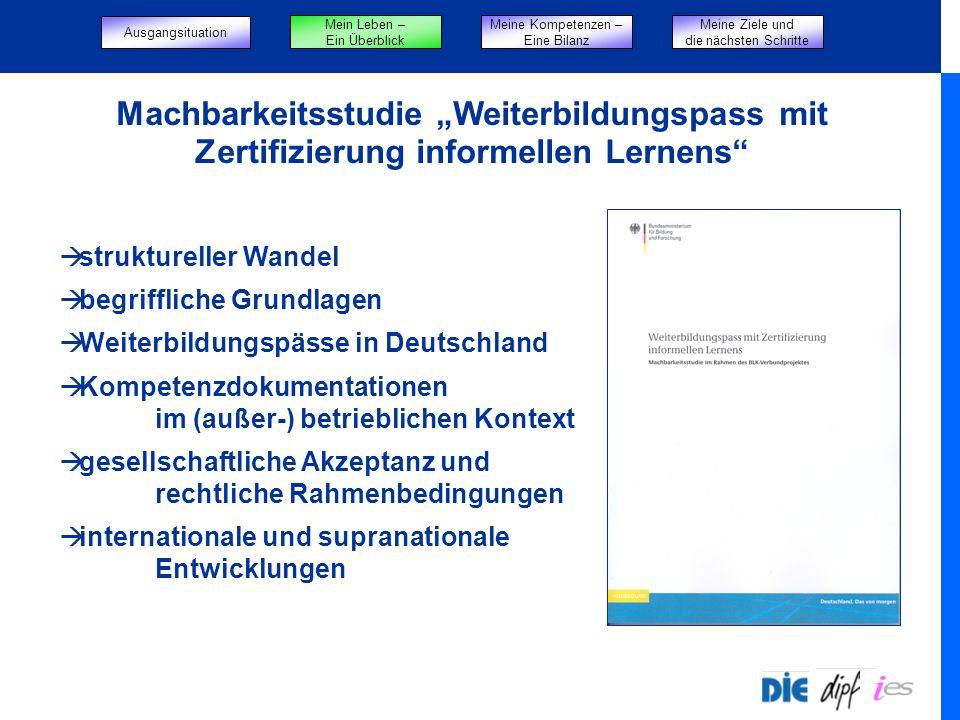 Machbarkeitsstudie Weiterbildungspass mit Zertifizierung informellen Lernens struktureller Wandel begriffliche Grundlagen Weiterbildungspässe in Deuts