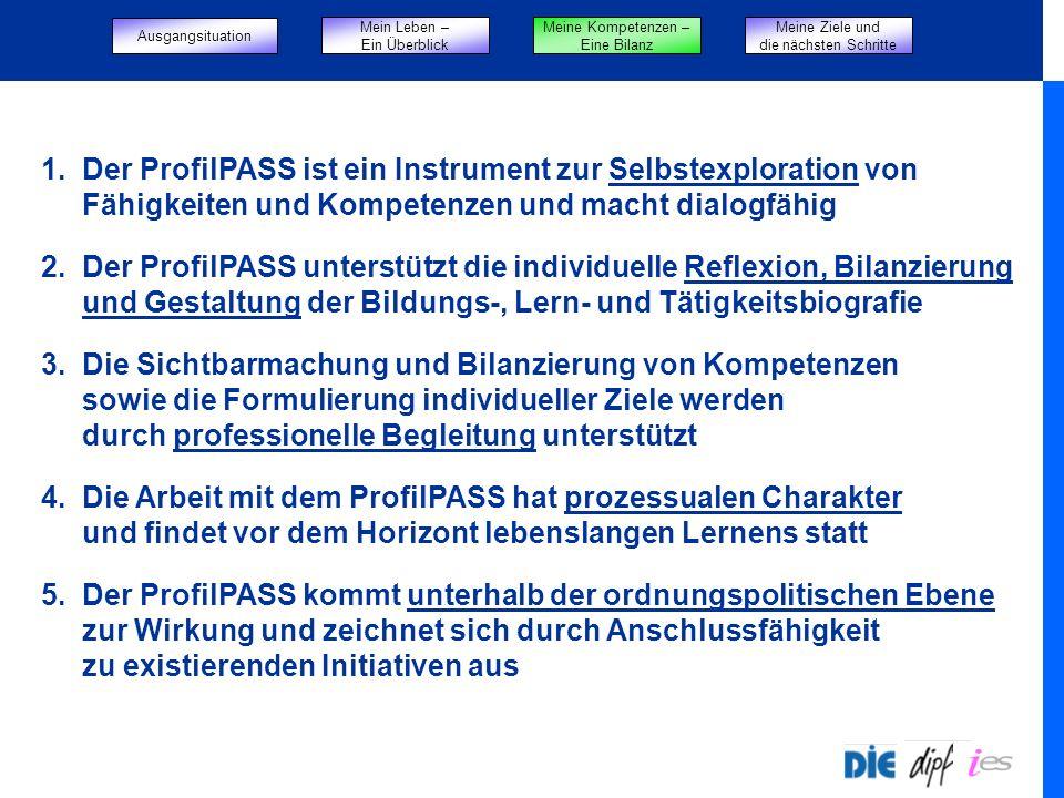Start 1. Der ProfilPASS ist ein Instrument zur Selbstexploration von Fähigkeiten und Kompetenzen und macht dialogfähig 2. Der ProfilPASS unterstützt d