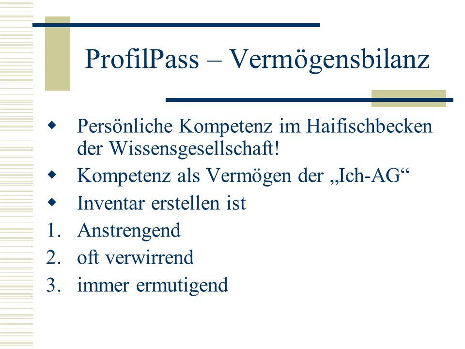 ProfilPass – Vermögensbilanz Persönliche Kompetenz im Haifischbecken der Wissensgesellschaft.