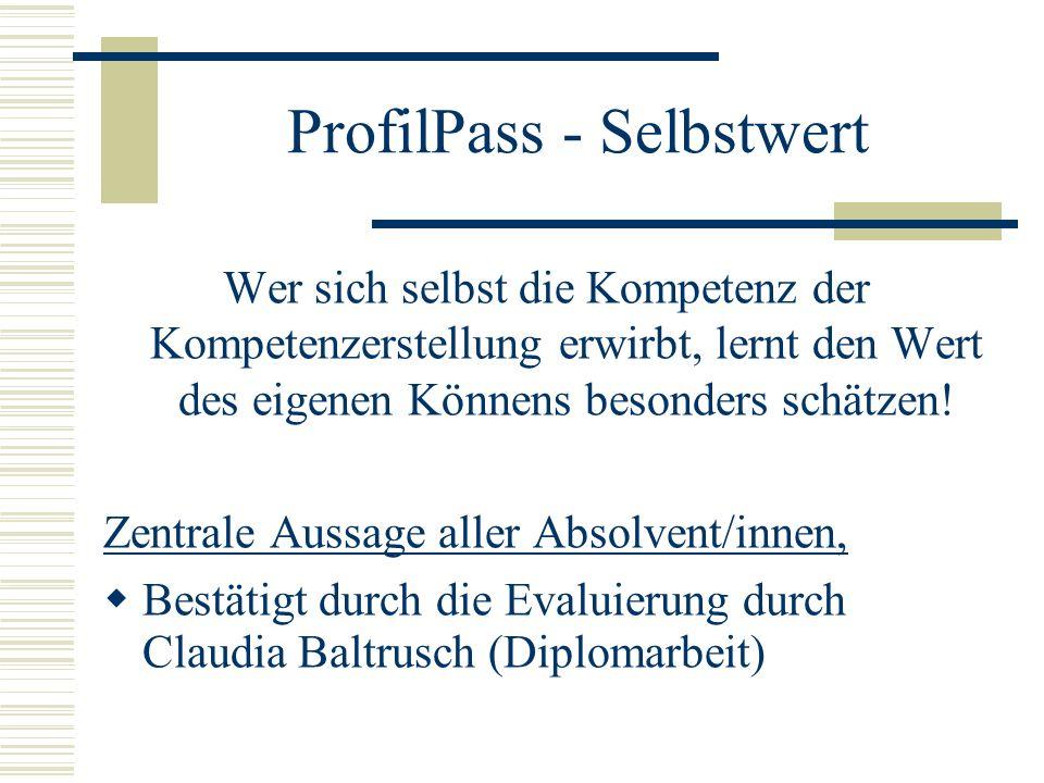 ProfilPass - Selbstwert Wer sich selbst die Kompetenz der Kompetenzerstellung erwirbt, lernt den Wert des eigenen Könnens besonders schätzen.