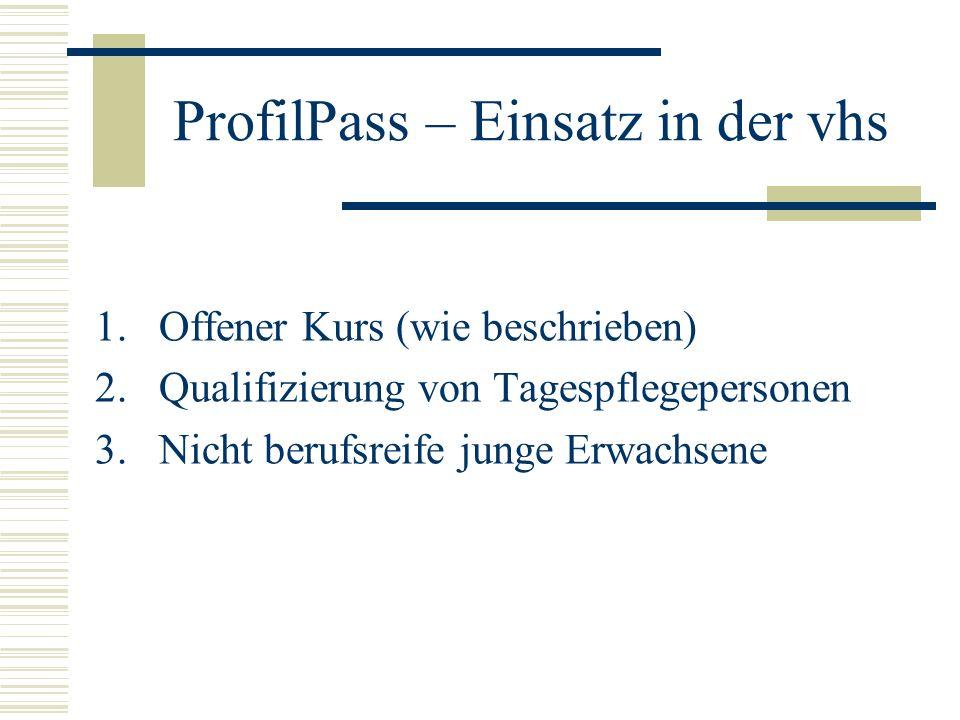 ProfilPass – Einsatz in der vhs 1.Offener Kurs (wie beschrieben) 2.Qualifizierung von Tagespflegepersonen 3.Nicht berufsreife junge Erwachsene