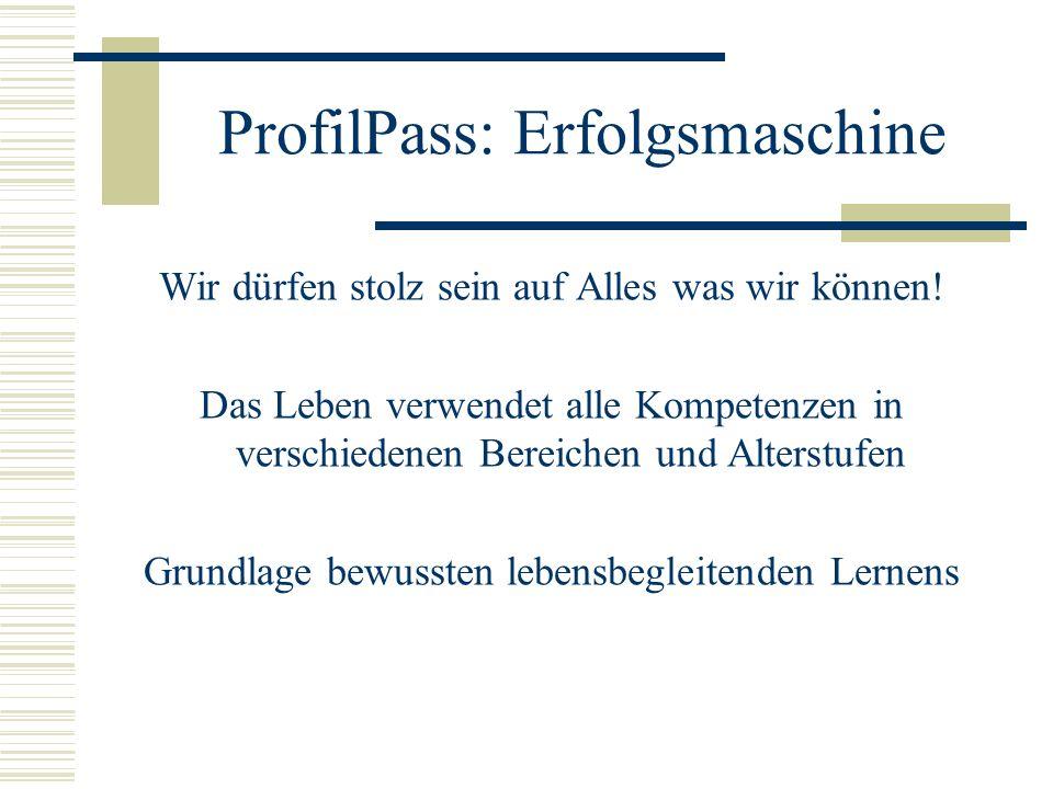 ProfilPass: Erfolgsmaschine Wir dürfen stolz sein auf Alles was wir können.
