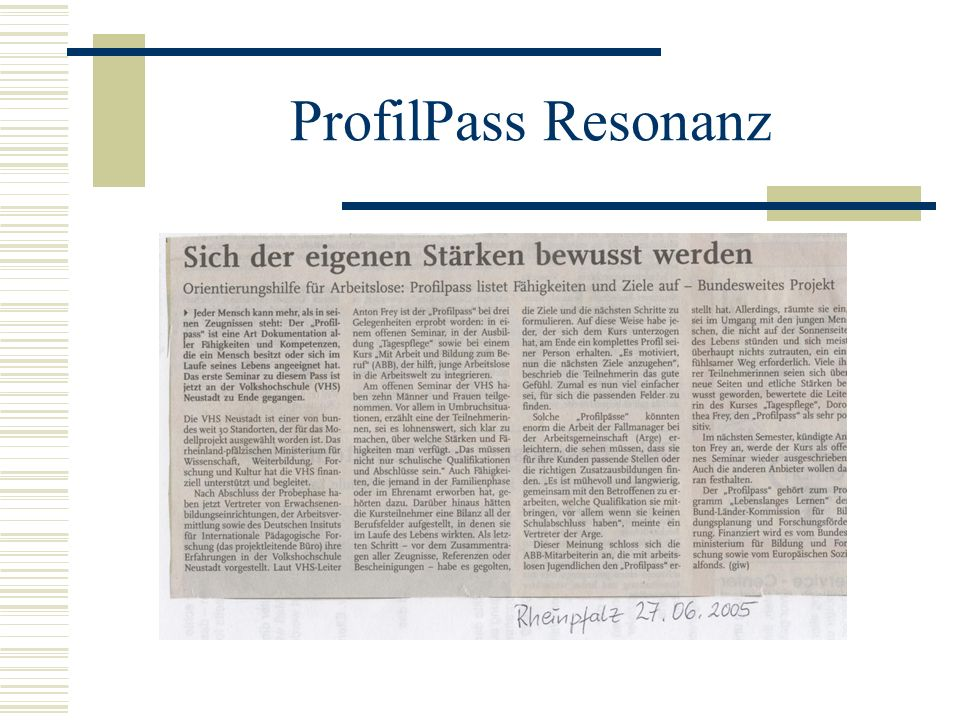 ProfilPass Resonanz