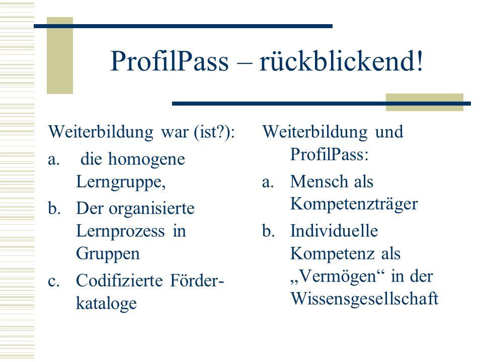 ProfilPass – rückblickend. Weiterbildung war (ist?): a.