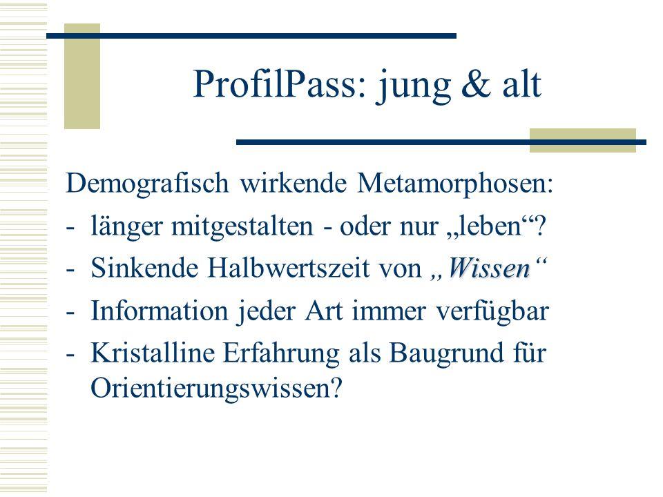ProfilPass: jung & alt Demografisch wirkende Metamorphosen: -länger mitgestalten - oder nur leben.