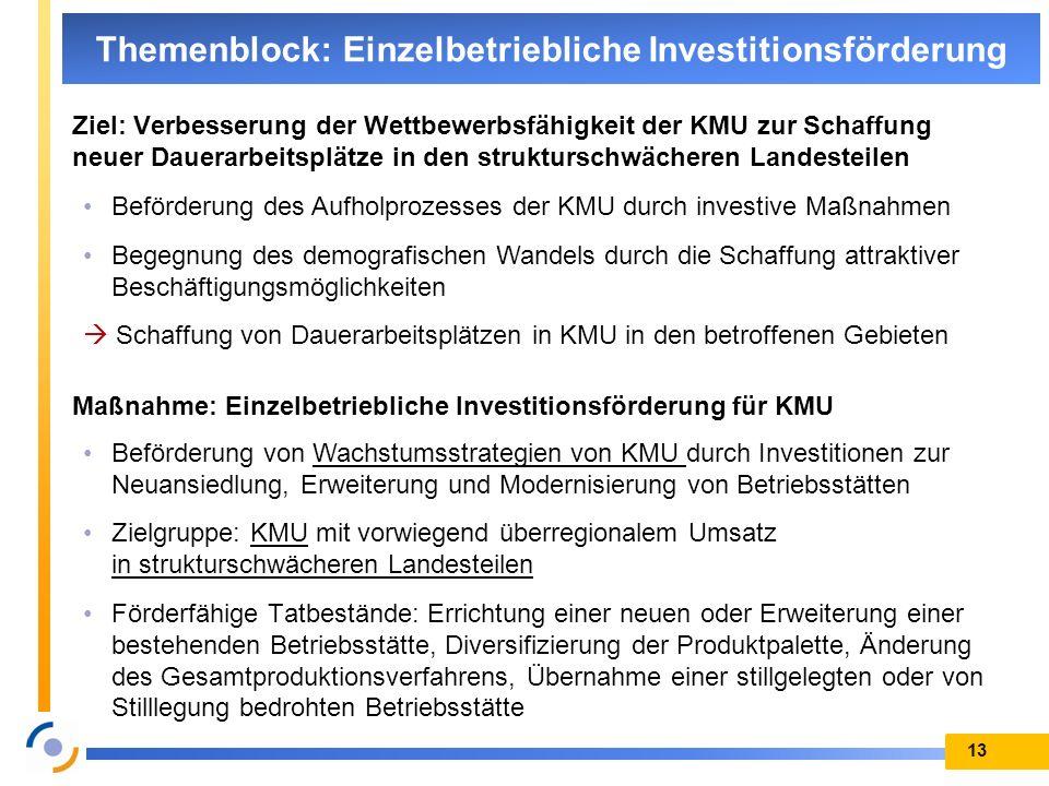 13 Themenblock: Einzelbetriebliche Investitionsförderung Ziel: Verbesserung der Wettbewerbsfähigkeit der KMU zur Schaffung neuer Dauerarbeitsplätze in
