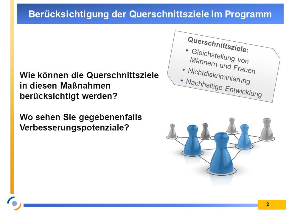 2 Berücksichtigung der Querschnittsziele im Programm Wie können die Querschnittsziele in diesen Maßnahmen berücksichtigt werden? Wo sehen Sie gegebene