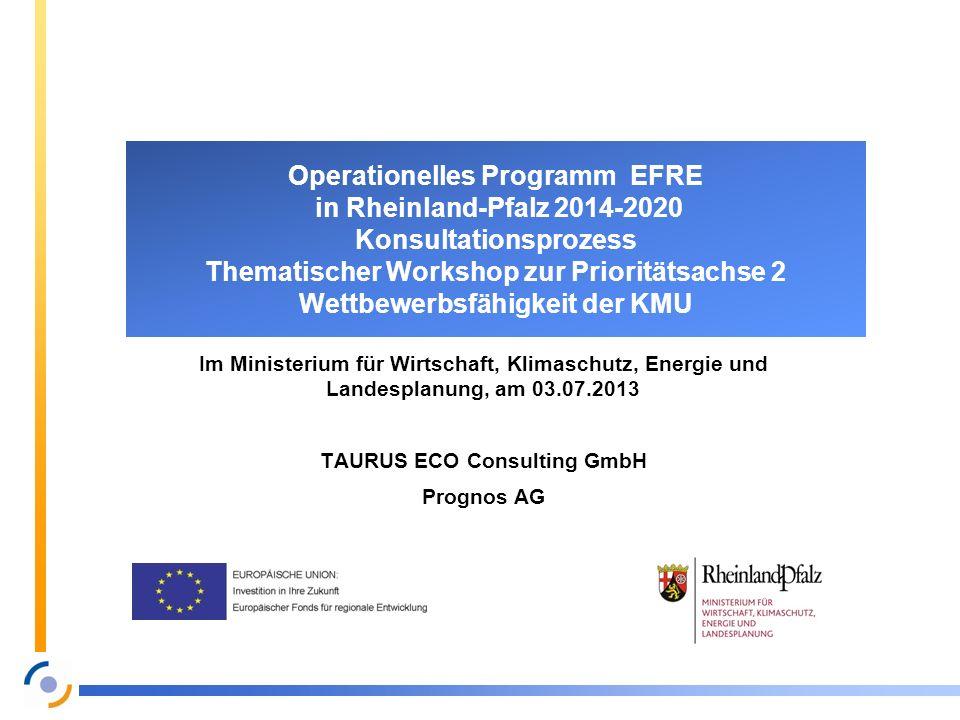 Operationelles Programm EFRE in Rheinland-Pfalz 2014-2020 Konsultationsprozess Thematischer Workshop zur Prioritätsachse 2 Wettbewerbsfähigkeit der KM
