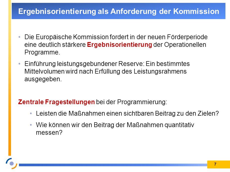 7 Ergebnisorientierung als Anforderung der Kommission Die Europäische Kommission fordert in der neuen Förderperiode eine deutlich stärkere Ergebnisori