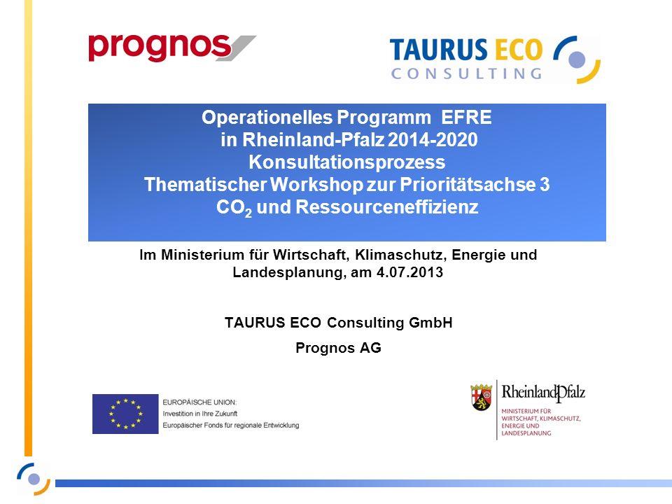 Operationelles Programm EFRE in Rheinland-Pfalz 2014-2020 Konsultationsprozess Thematischer Workshop zur Prioritätsachse 3 CO 2 und Ressourceneffizien