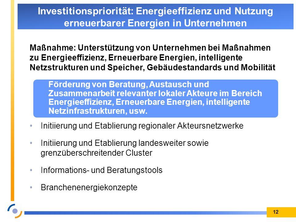 Maßnahme: Unterstützung von Unternehmen bei Maßnahmen zu Energieeffizienz, Erneuerbare Energien, intelligente Netzstrukturen und Speicher, Gebäudestan