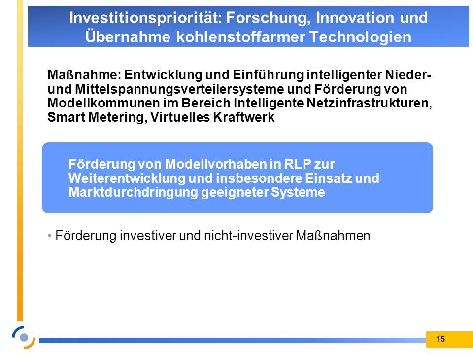 Maßnahme: Entwicklung und Einführung intelligenter Nieder- und Mittelspannungsverteilersysteme und Förderung von Modellkommunen im Bereich Intelligent
