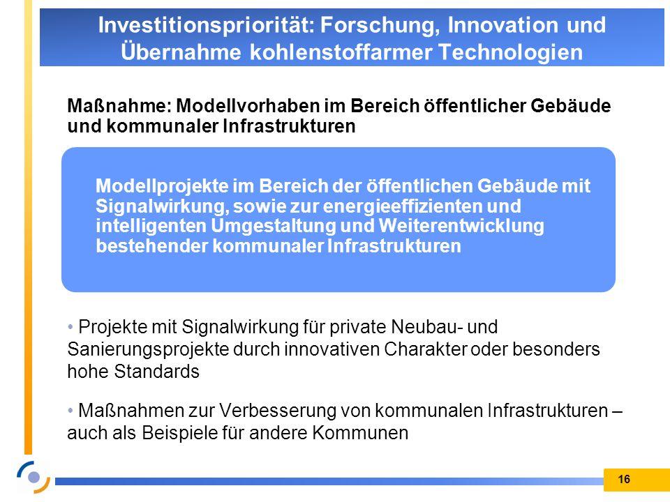 Maßnahme: Modellvorhaben im Bereich öffentlicher Gebäude und kommunaler Infrastrukturen Projekte mit Signalwirkung für private Neubau- und Sanierungsp