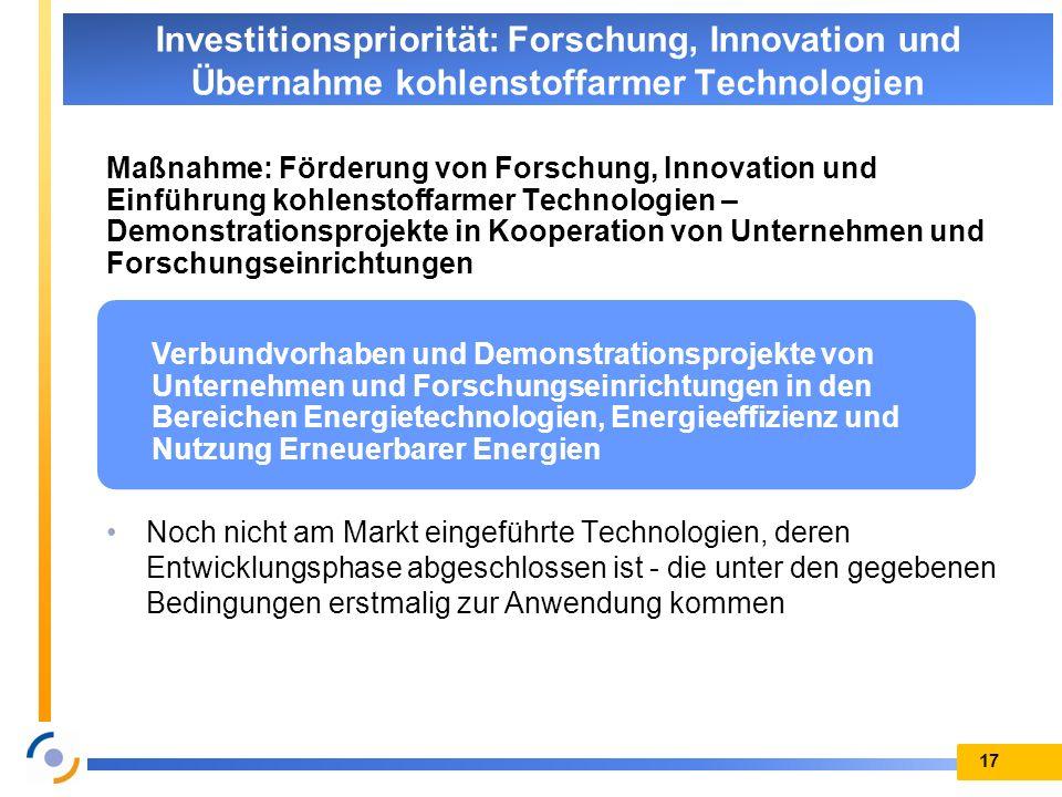 Maßnahme: Förderung von Forschung, Innovation und Einführung kohlenstoffarmer Technologien – Demonstrationsprojekte in Kooperation von Unternehmen und