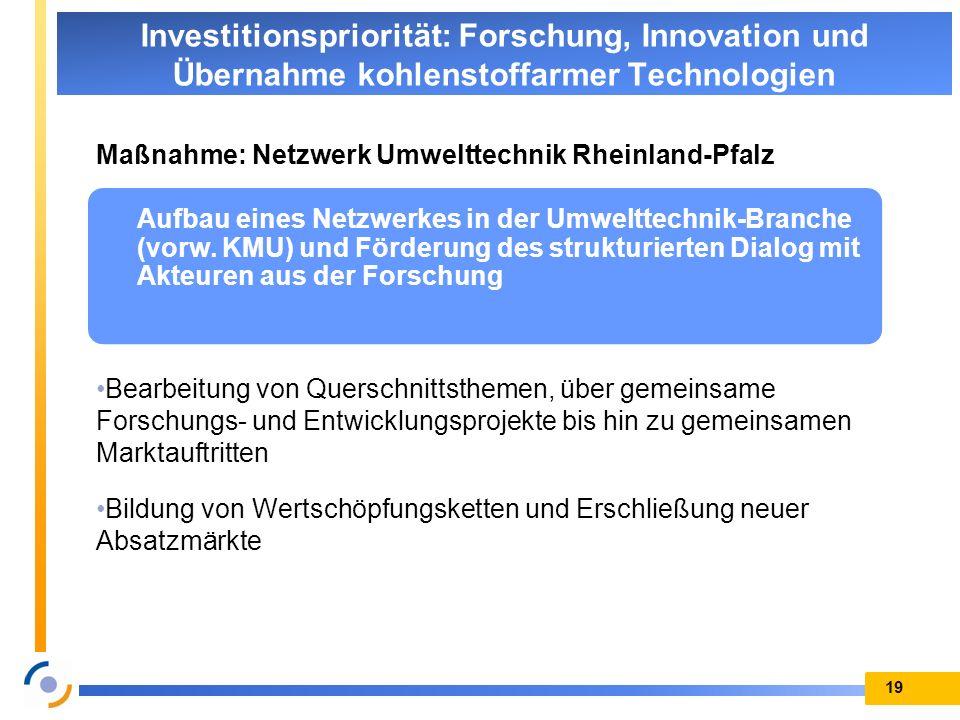 Maßnahme: Netzwerk Umwelttechnik Rheinland-Pfalz Bearbeitung von Querschnittsthemen, über gemeinsame Forschungs- und Entwicklungsprojekte bis hin zu g