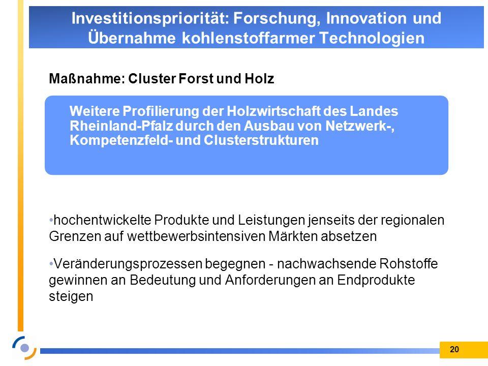 Maßnahme: Cluster Forst und Holz hochentwickelte Produkte und Leistungen jenseits der regionalen Grenzen auf wettbewerbsintensiven Märkten absetzen Ve