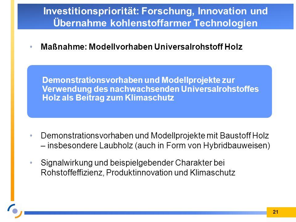 Maßnahme: Modellvorhaben Universalrohstoff Holz Demonstrationsvorhaben und Modellprojekte mit Baustoff Holz – insbesondere Laubholz (auch in Form von