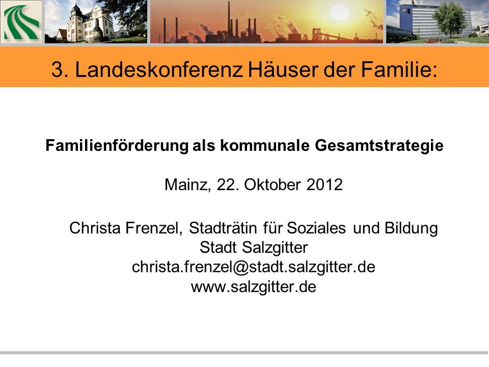3. Landeskonferenz Häuser der Familie: Familienförderung als kommunale Gesamtstrategie Mainz, 22.