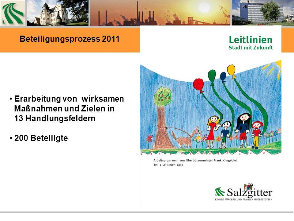 Erarbeitung von wirksamen Maßnahmen und Zielen in 13 Handlungsfeldern 200 Beteiligte Beteiligungsprozess 2011