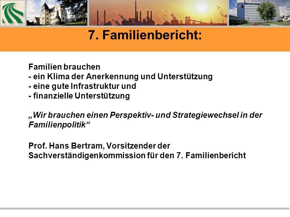 7. Familienbericht: Familien brauchen - ein Klima der Anerkennung und Unterstützung - eine gute Infrastruktur und - finanzielle Unterstützung Wir brau