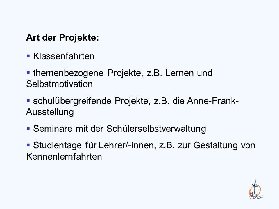 Klassenfahrten themenbezogene Projekte, z.B.