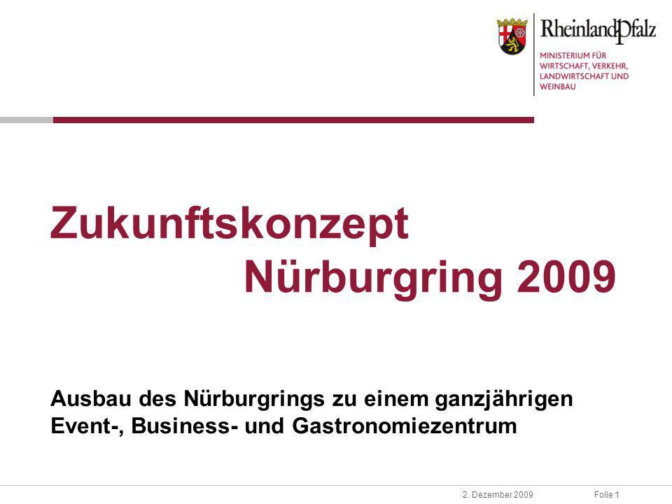 Folie 12. Dezember 2009 Zukunftskonzept Nürburgring 2009 Ausbau des Nürburgrings zu einem ganzjährigen Event-, Business- und Gastronomiezentrum
