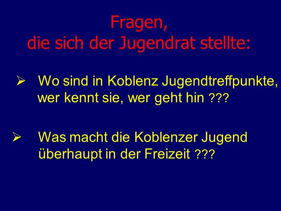 Fragen, die sich der Jugendrat stellte: Wo sind in Koblenz Jugendtreffpunkte, wer kennt sie, wer geht hin ??? Was macht die Koblenzer Jugend überhaupt