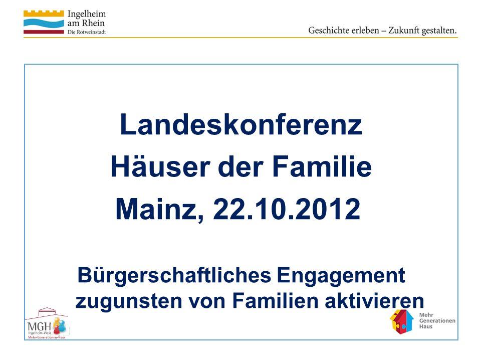 Landeskonferenz Häuser der Familie Mainz, 22.10.2012 Bürgerschaftliches Engagement zugunsten von Familien aktivieren