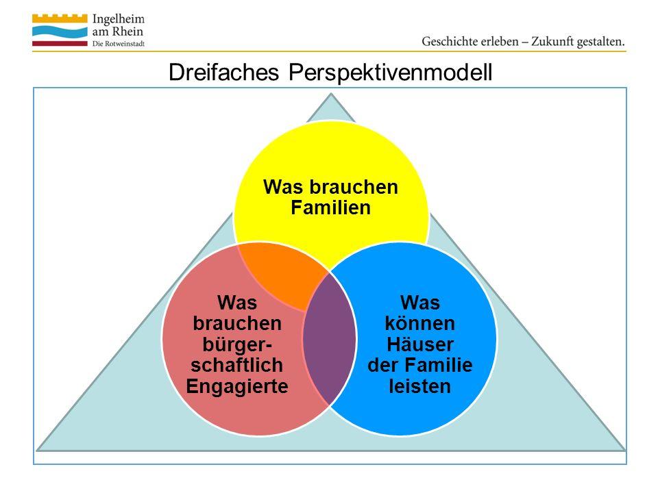 Dreifaches Perspektivenmodell Was brauchen Familien Was können Häuser der Familie leisten Was brauchen bürger- schaftlich Engagierte