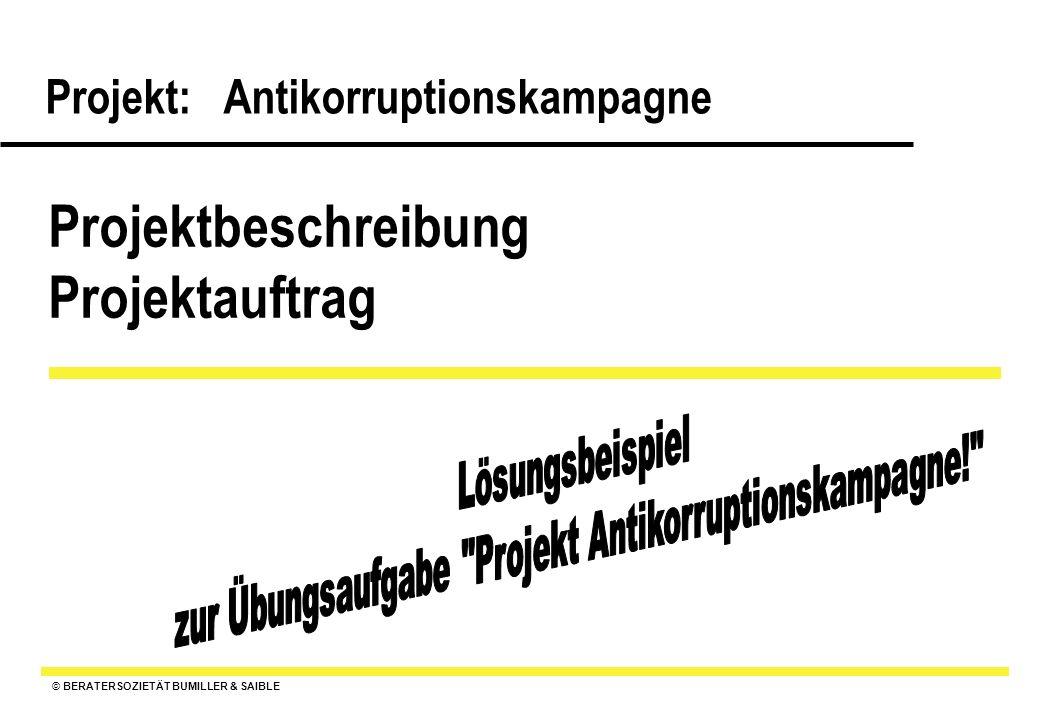 © BERATERSOZIETÄT BUMILLER & SAIBLE Projekt: Antikorruptionskampagne Pflichtenheft : Ziele, Anforderungen, Qualitätserwartungen an das Projekt und die Ergebnisse 6.