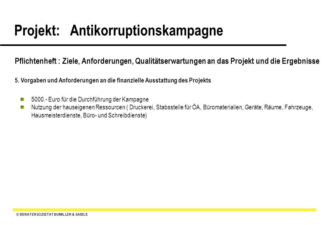 © BERATERSOZIETÄT BUMILLER & SAIBLE Projekt: Antikorruptionskampagne Pflichtenheft : Ziele, Anforderungen, Qualitätserwartungen an das Projekt und die