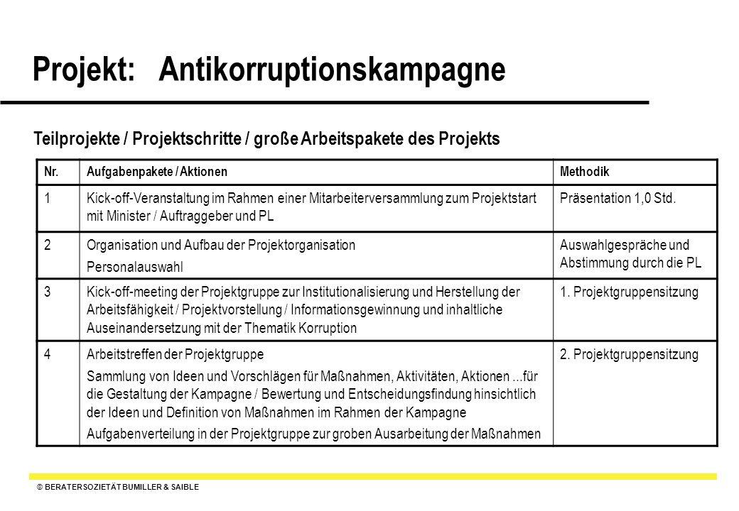© BERATERSOZIETÄT BUMILLER & SAIBLE Projekt: Antikorruptionskampagne Teilprojekte / Projektschritte / große Arbeitspakete des Projekts Nr.Aufgabenpake