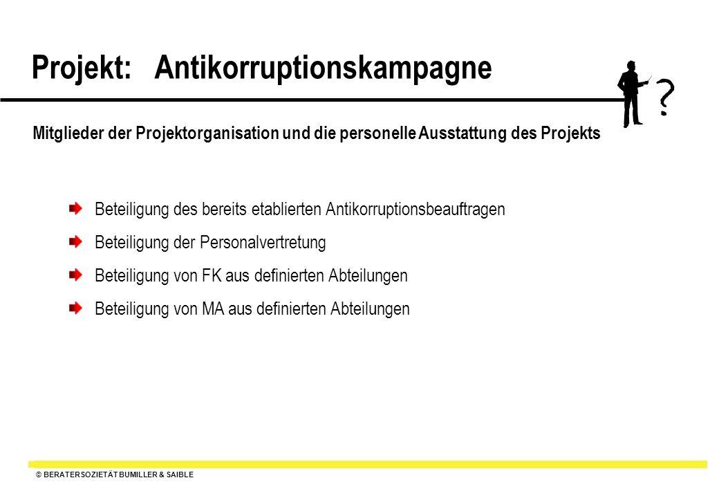 © BERATERSOZIETÄT BUMILLER & SAIBLE Projekt: Antikorruptionskampagne ? Mitglieder der Projektorganisation und die personelle Ausstattung des Projekts