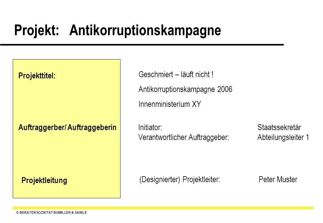 © BERATERSOZIETÄT BUMILLER & SAIBLE Projekt: Antikorruptionskampagne Pflichtenheft : Ziele, Anforderungen, Qualitätserwartungen an das Projekt und die Ergebnisse 7.