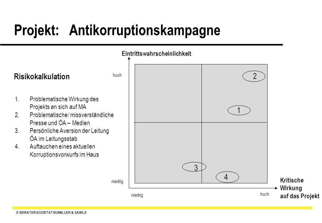 © BERATERSOZIETÄT BUMILLER & SAIBLE Projekt: Antikorruptionskampagne Risikokalkulation 1.Problematische Wirkung des Projekts an sich auf MA 2.Problema