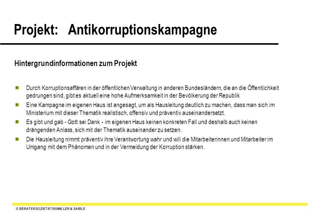 © BERATERSOZIETÄT BUMILLER & SAIBLE Projekt: Antikorruptionskampagne Pflichtenheft : Ziele, Anforderungen, Qualitätserwartungen an das Projekt und die Ergebnisse 1.