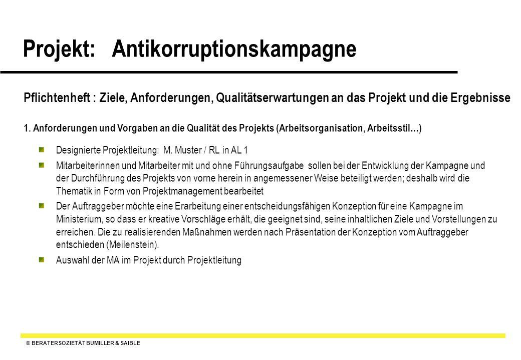 © BERATERSOZIETÄT BUMILLER & SAIBLE Projekt: Antikorruptionskampagne Pflichtenheft : Ziele, Anforderungen, Qualitätserwartungen an das Projekt und die Ergebnisse 2.