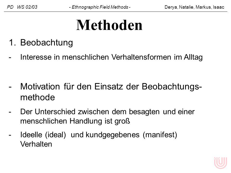PD WS 02/03 - Ethnographic Field Methods - Derya, Natalie, Markus, Isaac 1.Beobachtung -Interesse in menschlichen Verhaltensformen im Alltag -Motivati